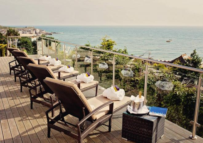 The spa terrace at St Ives Harbour Hotel