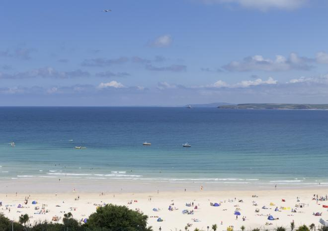 Views across the beach from St Ives Harbour Hotel and Spa
