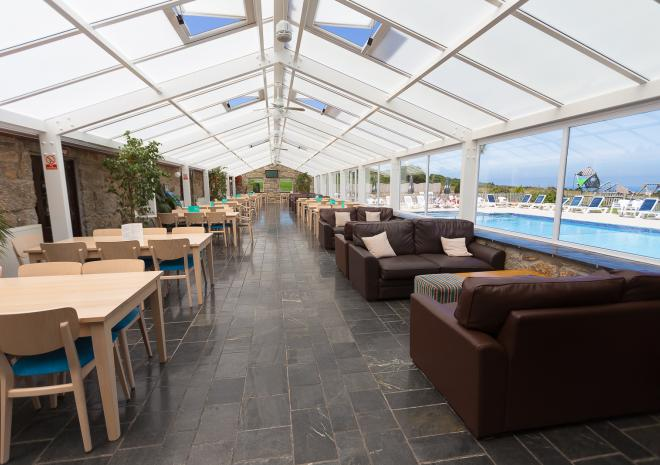 The conservatory of The Stable Bar and Restaurant at Polmanter Touring Park, St Ives