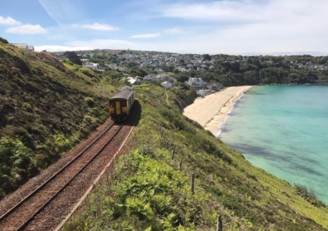 Scenic Coastal Train near Carbis Bay beach, close to Count House Cottage, Carbis Bay, St Ives