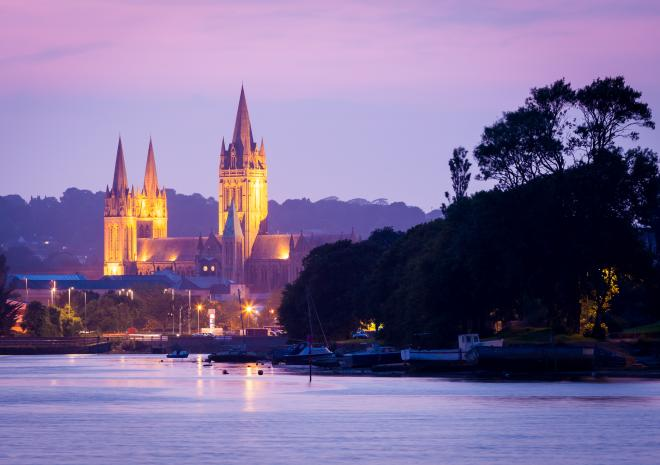 View along the Truro river towards Truro cathedral