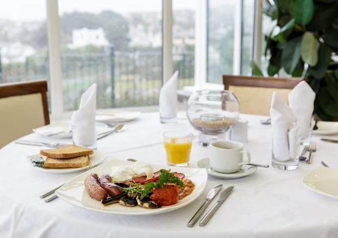 Cooked breakfast at Beaucliffes, Porth Veor Manor Hotel