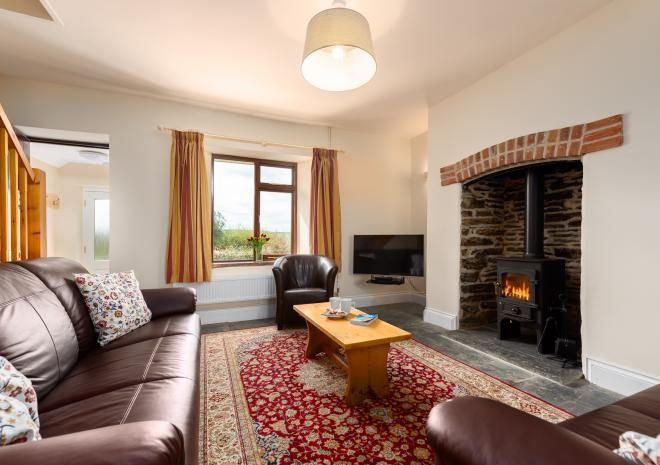West Park living/dining with log burner