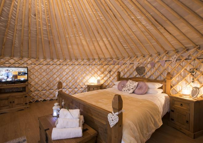 Inside one of our glamping yurts