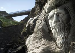 Statue of Merlin at Tintagel Castle