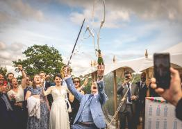 A real champagne moment for the bride & groom at Pentillie Castle