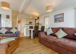 large open-plan living area, lodge self catering Mullion Cornwall