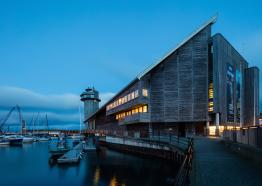 The National Maritime Museum Cornwall on Discovery Quay Falmouth at dusk