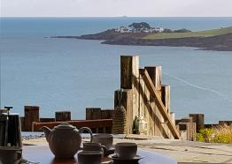 View from lounge out to Chapel Point at Pebble House