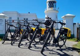 Ebike Cornwall: electric bike hire in Penzance. Image at Pendeen Lighthouse.