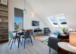 Open plan living room in the self catered apartment, Kerenza, at Polmanter Touring Park, St Ives