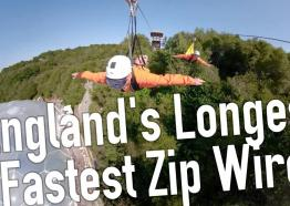 England's longest and fastest Zip Line / Zip Wire - Hangloose Adventure at the Eden Project Cornwall