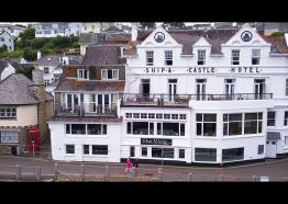 The Ship & Castle Hotel in St. Mawes, Cornwall. Shot in 4k.